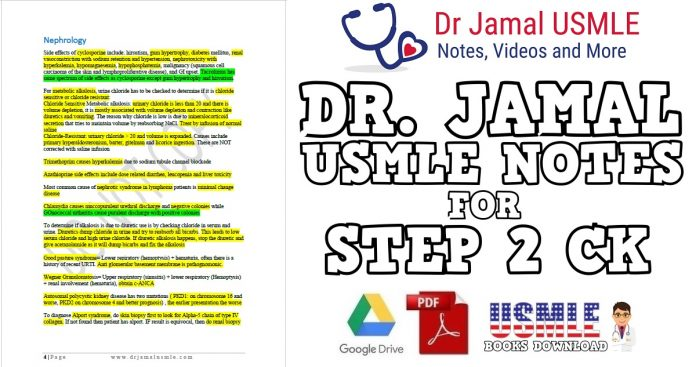 Dr Jamal's USMLE Notes for Step 2 CK PDF